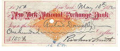 Very Old  Check New York National Exchange Bank 1882  With Revenue