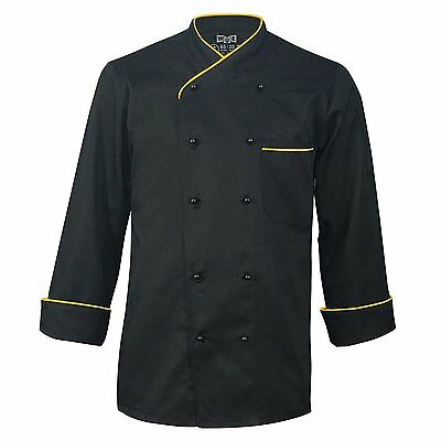 10oz Apparel Long Sleeve Black Chef Coat with Gold Piping L