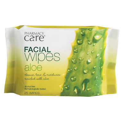 NEW Pharmacy Care Facial Wipes Pack Facial Wipes Aloe Vera 25 Pack