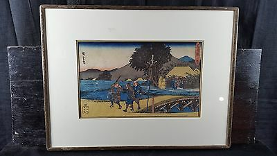 Hiroshige Ando Original Antique 19th Century Japanese Woodblock Print 47 Ronin