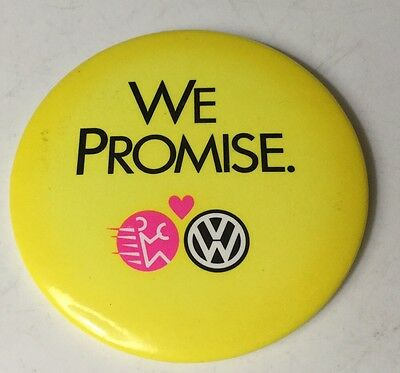 """Volkswagen  Pinback Button Yellow 3"""" Wide Vw  Pin Back We Promise"""