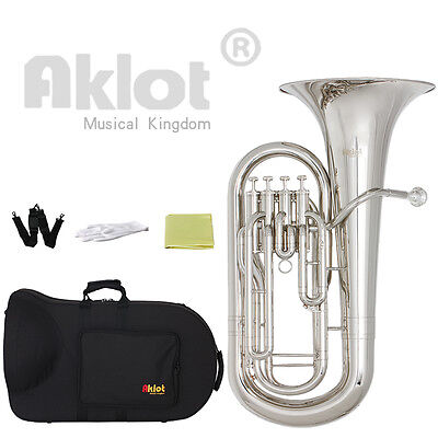 Aklot Bb Euphonium 4 Valve Silver Plated Mouthpiece Nickel Plated Brass Body