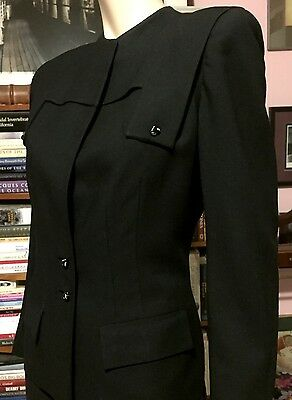 Vintage 1950s BRUCKNER'S FRESNO 2 Pc SUIT Skirt & High Closed Front Jacket 10ish