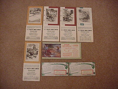 Vintage Ink Blotters: All with Calendars, Lot of 8