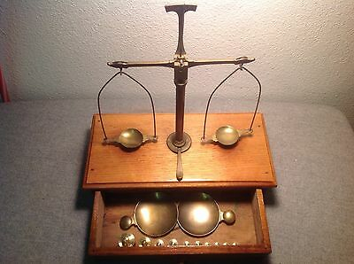 Vintage Brass Apothecary  Gold Scale & Wieght 1880 England