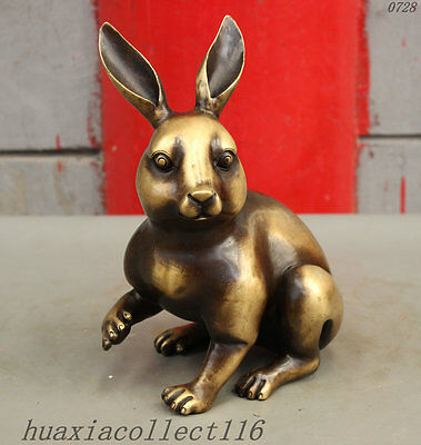 "9"" China FengShui Pure Bronze Zodiac Year Rabbit Bunny Auspicious Animal Statue"