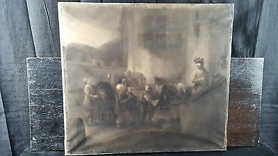 Original Antique 19th Century European Drawing charcoal Dutch Old Master subject
