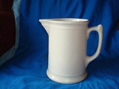 """Antique White Ironstone Pitcher 6 3/8"""" Signed but Illegible"""