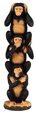 StealStreet Black And Brown Monkey Hear, See, Speak No Evil 3 Stack Figurine