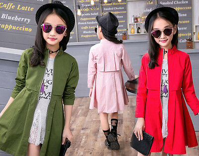 Girls Kids Casual Long Trench Jacket Coat Travel Outwear Age 3-12 100% Cotton
