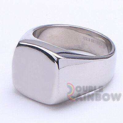 R8 Men's Stainless Steel Silver Engraving Plain ID Ring Size 8-13