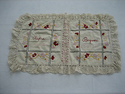 VIntage 1921 Hand Made Pillowcase, Crewel Work Flowers, Lace Edges and Inserts