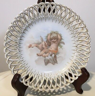 Pieced Plate Cherubs And Doves - Hand Painted Porcelain
