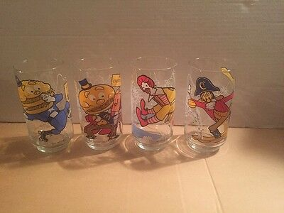 McDonald's 1977 Action Series Glasses Lot Of 4