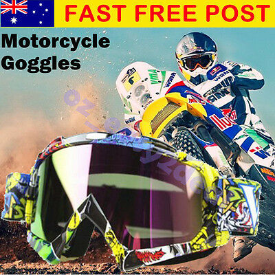 MX Graffiti Colorful Frame Tinted lens Motocross MTB Off-Road Dirt Bike Goggles