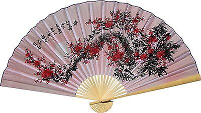 "Large 60"" Folding Wall Fan -- Purity Blossoms -- Original Hand-painted"