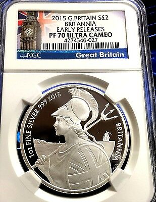 2015 Silver 1 Oz Britannia NGC PF70 UC Early Release