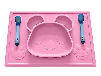 Mopels Childrens Placemat with Free Spoon Set and E-Book, One-Piece Silicone for