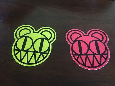 Two Radiohead Kid A Promo Stickers - Red & Yellow Rare Year 2000