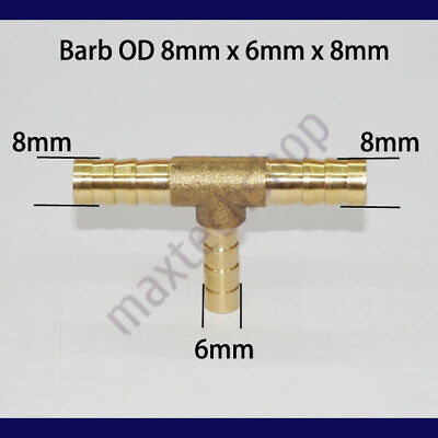 5/16 X 1/4 X 5/16 | 8mm 6mm 8mm Tee 3-Way Hose Barb Brass Fitting Fuel Connector