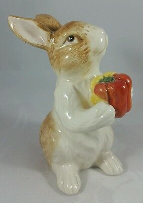 "Porcelain Bunny Rabbit Holding Red Pepper 4"" Figurine Quality, Shiny Exc. Cond."