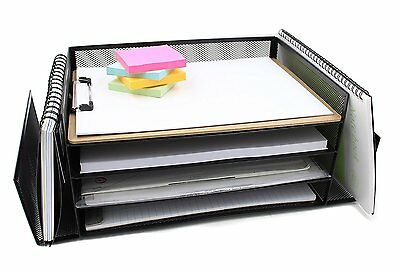 EasyPAG Mesh Desk Letter Tray Office Literature Organizer 4 Horizontal and 2