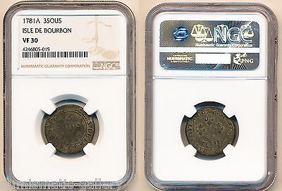 ISLE DE BOURBON (French Colony) 3 Sous 1781-A VF30 NGC POP 1/0 , none finer