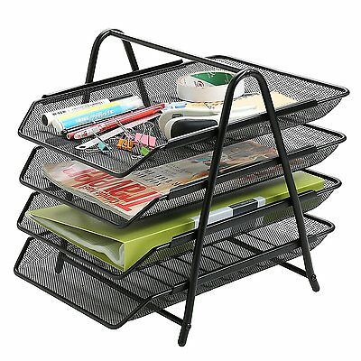 4 Tier Metal Office Desktop File and Document Organizer Trays, Magazine Holder