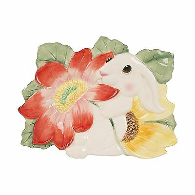 Bunny Blooms Collection, Canape Plate, White/Pink