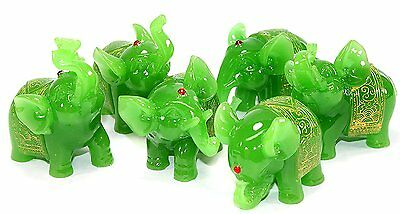 Feng Shui Set of 6 Jade Green Elephant Statues Wealth Lucky Figurines Home Decor
