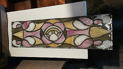 "Vintage Stained Glass Panel  24 "" Long"