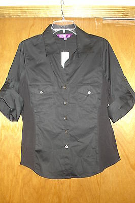 NYDJ Not Your Daughter's Jeans Black Button Down Short Sleeved Shirt PP NWT