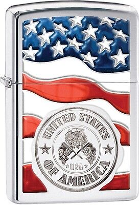 Zippo American Stamp Seal on Flag High Polish Chrome WindProof Lighter NEW 29395