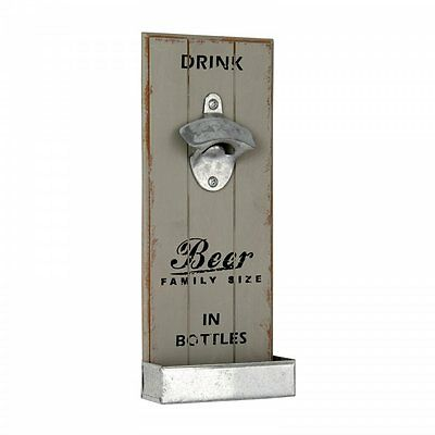 Vintage Style Grey Wall Hanging Beer Bottle Opener Catch Tray Wooden Bar Sign