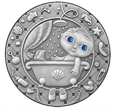 Belarus 2009, AQUARIUS Sign of the Zodiac, 20 rubles, Silver, Synthetic crystals