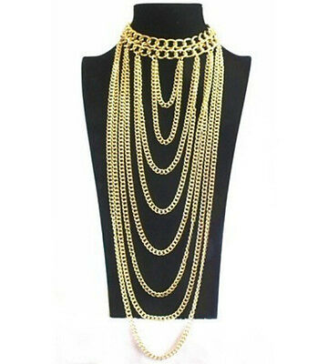 Statement Gold Tone Chunky Choker Waterfall Chain Link Necklace  Uk Seller Body