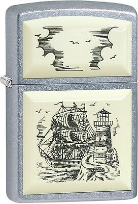 Zippo Scrimshaw Ship, Clipper, Lighthouse, Street Chrome Lighter NEW 29397