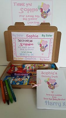 Big Sister Sweet Hamper A6 Activity Book Keepsake Certificate Gift Personalised