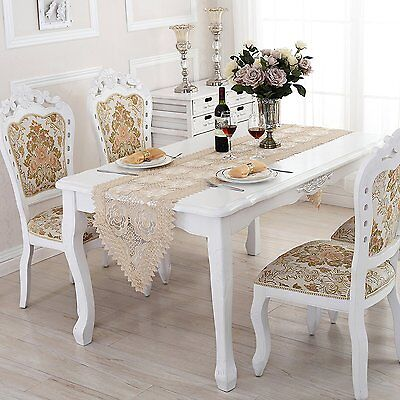 QXFSMILE Beige Lace Table Runner Embroidered Farbic Floral Table Cover 16 By 72