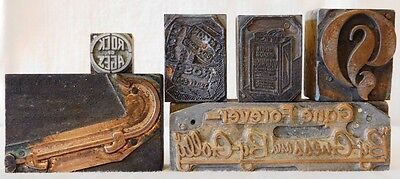 Lot of 6 Metal on Wood Print Blocks, Various Subjects - Antique
