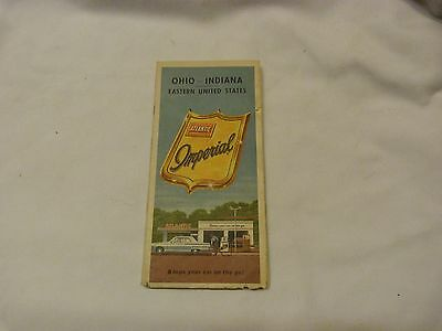 Vintage ATLANTIC IMPERIAL OHIO INDIANA Gas Service Station Road Map