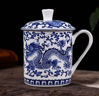 ufengkeWhite Porcelain Blue Dragon Tea Cup With Lid