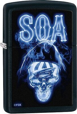 Zippo SOA Sons of Anarchy SAMCRO Skull Black Matte WindProof Lighter NEW 29317