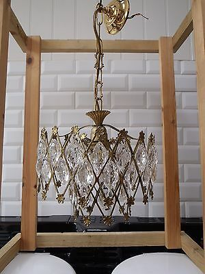 Rewired Vintage 1970s Crystal  drops in waterfall style Chandelier gilt metal