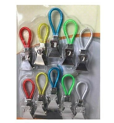 10Pk Towel Clips Beach Face Sunbed Travel Kitchen Tea Towels Holidays Metal Clip