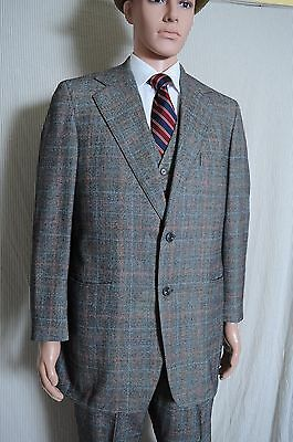 VTG '70s Tailored gray windowpane plaid wool 3 piece 2 button suit 40 35.5X30