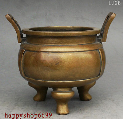 """7"""" Marked Chinese Buddhism Temple Pure copper Bronze incense burner Censer Ding"""