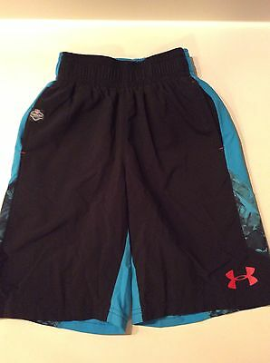 Boys Under Armour Shorts Board Short Black And Turquious Size Youth XS Loose