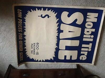 1950 s Mobil Oil Tires Sale Promo Poster Advertising for Service Station