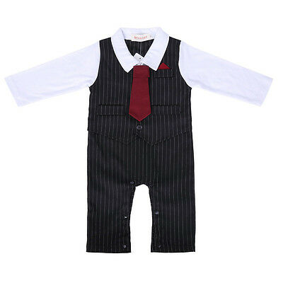 Baby Boy's Formal Wedding Suit Romper Outfit Set with Bow